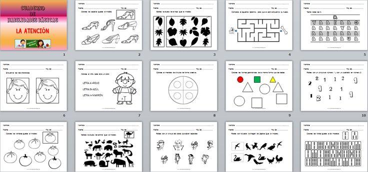 Cuaderno de habilidades básicas para trabajar la atención Editable al estilo de Orientación Andújar