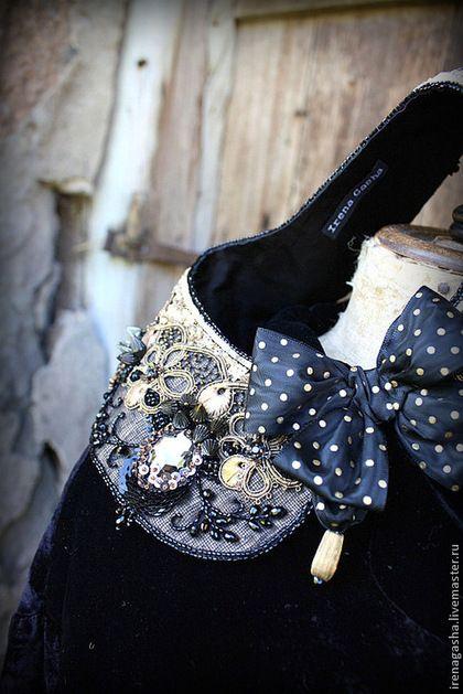 Воротничок K14007 - чёрный,золотой,воротничок,колье,вышивка ручная,авторская ручная работа