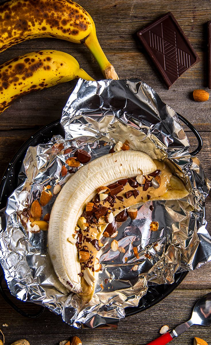 Vegan banana boat..yum! Could totally make this while camping too :)