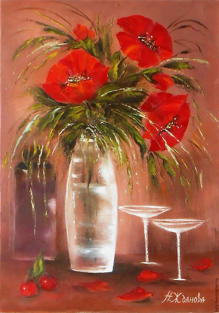 Купить Картина маслом натюрморт Маки - картины маслом цветы маки, картина маслом маки