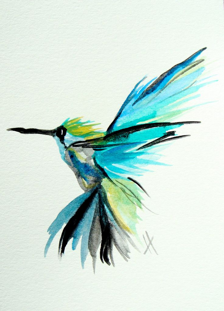Hummingbird, flight, tropical, blue, lime, bright, original watercolor painting 5 x 7. $24.50, via Etsy.