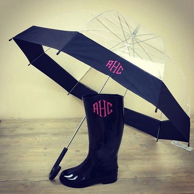 Monogram clear dome umbrella, Personalized umbrella black or pink,, matching rain boots available by InitiallyyU on Etsy https://www.etsy.com/listing/258317186/monogram-clear-dome-umbrella