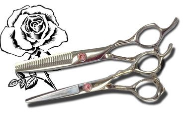 Bonika package deal for the professional stylist of their popular Rose Shear and matching blending shear