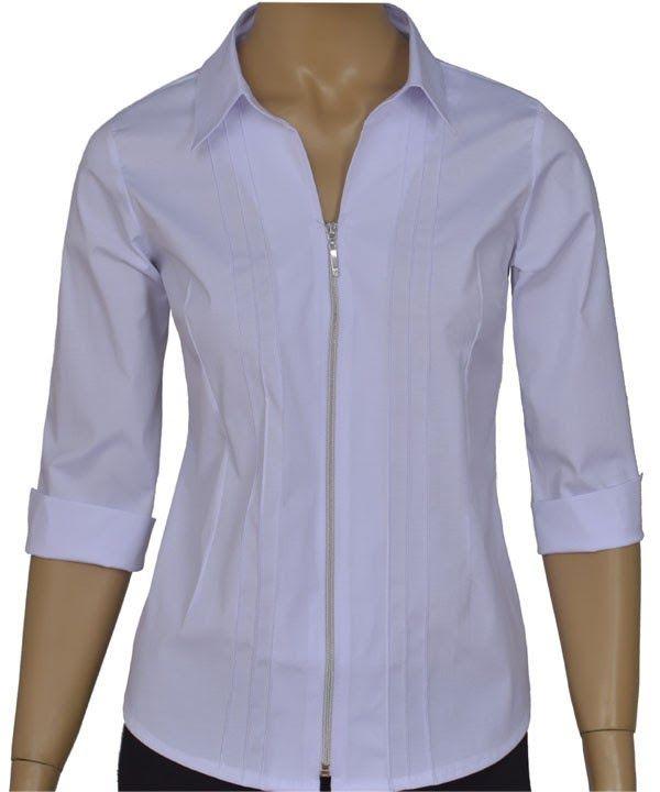 9a4124742e Camisa feminina social, com nervuras, manga 3/4, fechamento com zíper