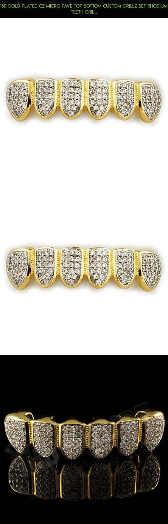 18K Gold Plated CZ Micro Pave Top Bottom CUSTOM GRILLZ SET Rhodium Teeth Gril... #shopping #parts #diamond #tech #kit #plans #camera #grills #gadgets #products #racing #technology #drone #teeth #fpv