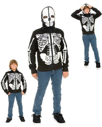 Boys Skeleton Sweatshirt Hoodie Costume (Large 10-12) by Charades. $44.99. polyester. This hoodie has skeleton print bones and zips all the way up to the top of the head, covering the face with a see-thru skull mask.. Have a hard time getting your kids to dress-up for Halloween? Our Boys Skeleton Sweatshirt Hoodie is the perfect solution for kids who have a bone to pick with complex costumes. This is a simple skeleton costume without going all out on dressing up and has p...