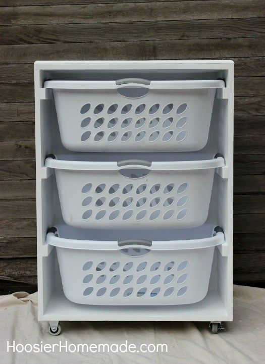 Managing laundry for a big household? Build a laundry sorter to hold everyone's basket.  (Home Decoration)