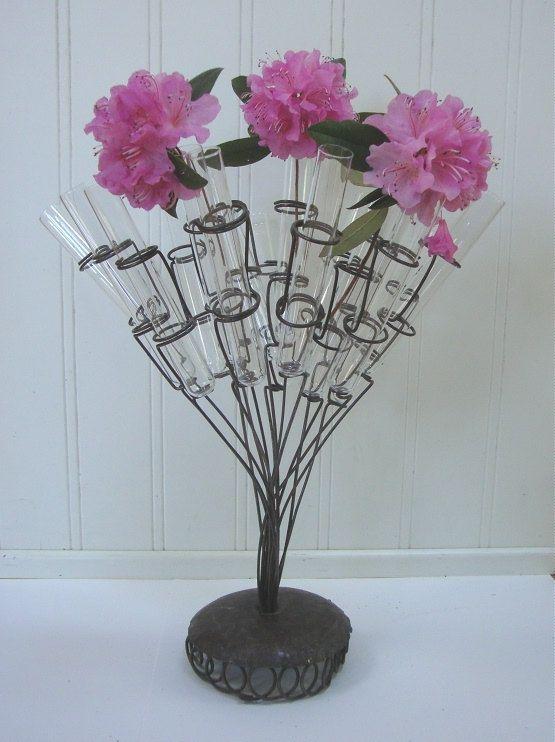 Vintage test tube vase industrial metal glass flower for Test tube flower vase rack