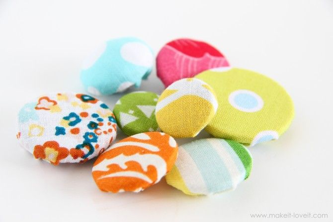 Sewing Tips: making Cover Buttons, without a kit.  You'll need some fabric scraps and some buttons.