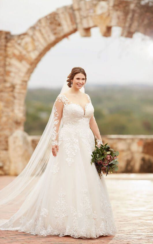 3fd8bccd72a D2433+ Plus Size Wedding Dress with Lace Sleeves by Essense of Australia