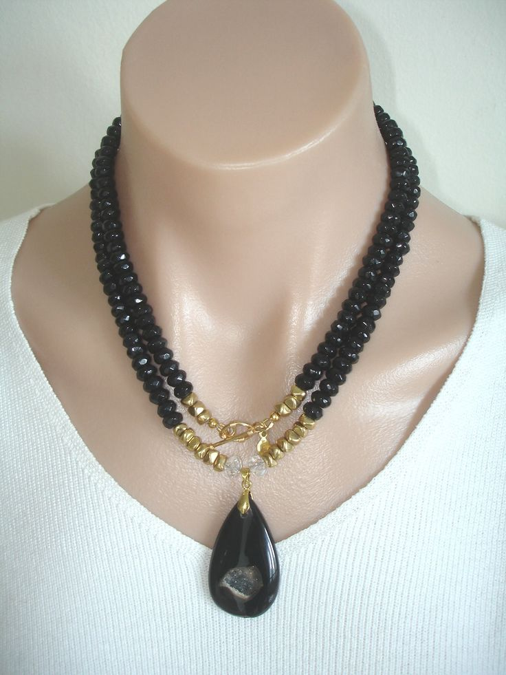 Ashira Black Onyx Gemstone Necklace with Luscious Black Agate Druzy Pendant. $245.00, via Etsy.