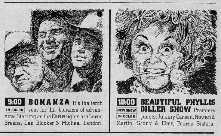 1968 tv ad ~ BONANZA & PHILLIS DILLER SHOW ~ Michael Landon & Lorne Greene