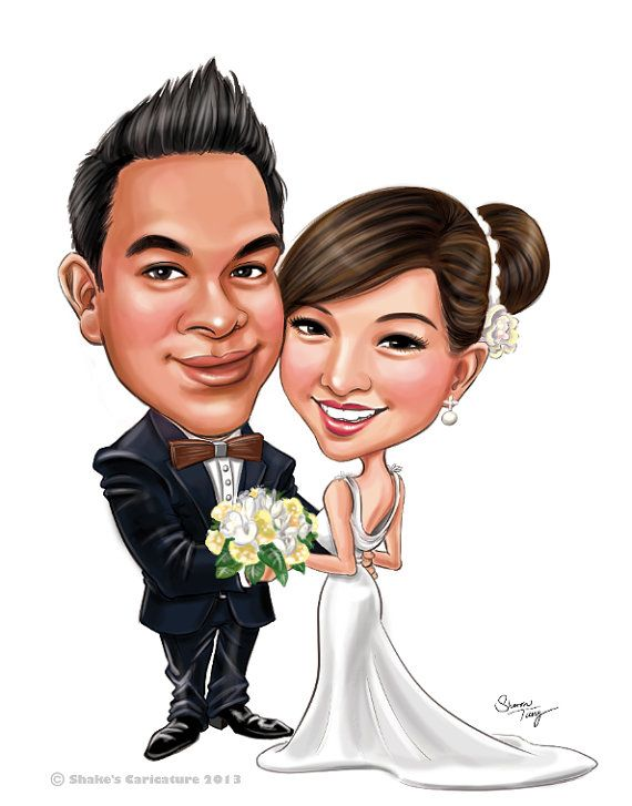 Custom Caricatures illustration from photos for Wedding invitations/ Save the date/ guests sign in board/ Cartoon Portrait