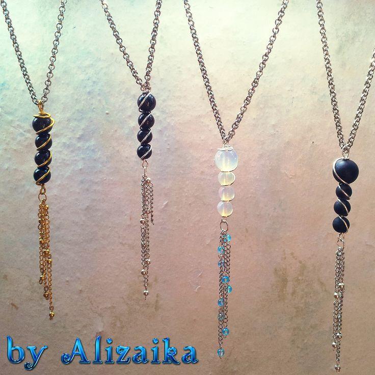 180 р. Кулончики-подвески. Продается без цепочки и по отдельности. Материалы: 1) каменные бусины, алюминиевая проволока (1 мм), цепочки, латунная проволока, бисер. 2) каменные бусины, немецкая посеребренная проволока (0.8 мм), бисер. 3) =//= вместо каменных бусин - лунные камни. 4) =//= матовые каменные бусины