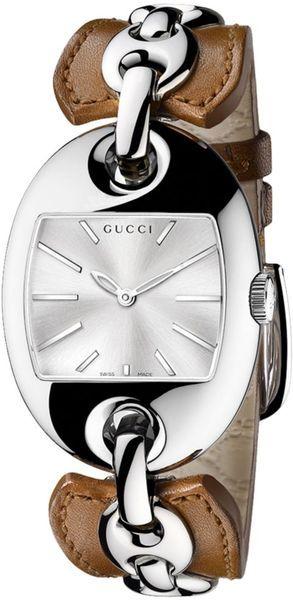 GUCCI Swiss Marina Chain Camel Leather Bangle Bracelet 33x43mm