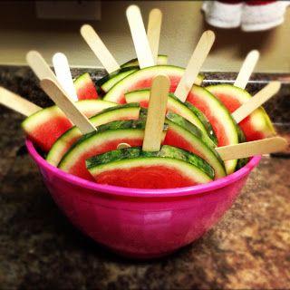 Watermelon Slices on Popsicle Sticks   Pop Stick Ideas   Pinterest ...