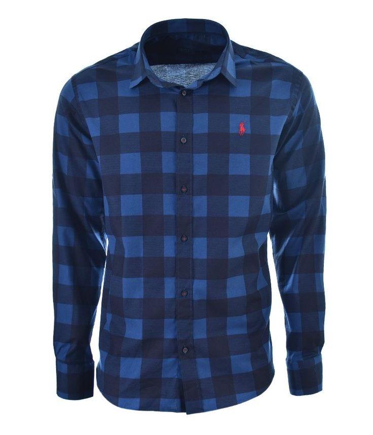 POLO Ralph Lauren Men's Shirt Blue Check Square Size: S, M, 2XL #PoloRalphLauren #Guayabera