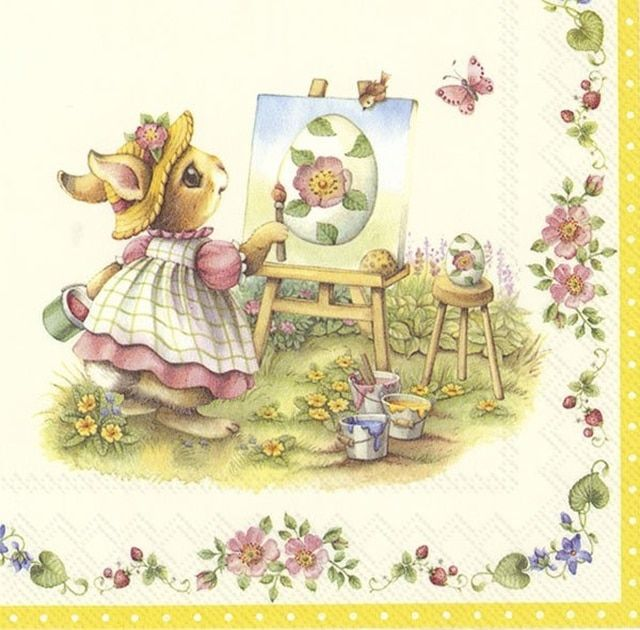 Charming Snow Rabbit 4x Paper Napkins for Decoupage Craft and Party
