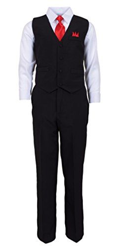 Vittorino Big Boy's 4 Piece Formal Tuxedo Suit Set Black/White, Red Tie 12 * Check out this great product.