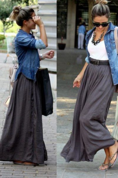 I need to get myself a grey maxi skirt, team it with a white v-neck tee, and steal my sister's denim shirt. Et voila! A simple and stylish outfit for my Paris getaway :)