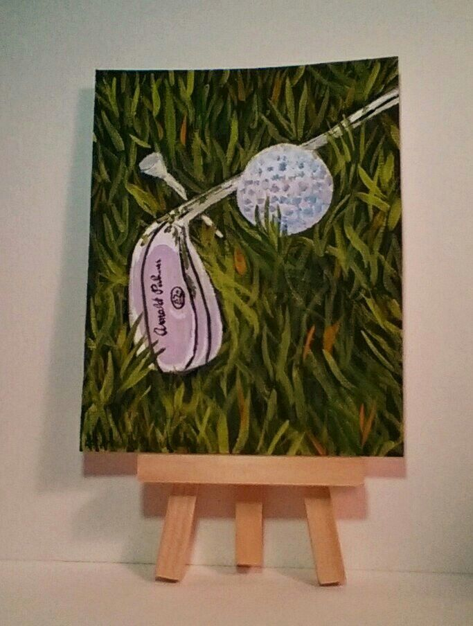 4x5 acrylic painting, titled simply Golf.
