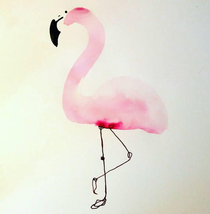 Нарисованный фламинго мимимишные картинки