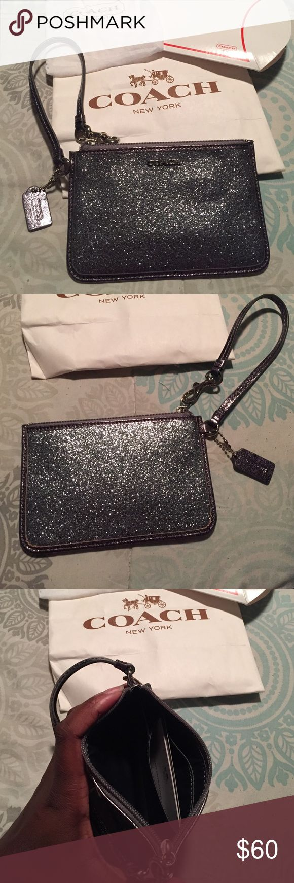 COACH WRISTLET Never Used ....Brand New (No Tag) Metallic Sparkle Coach Wristlet ... great for phone, ID,Cards and lipgloss Coach Bags Clutches & Wristlets