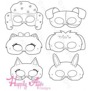 Haustiere druckbare Malmasken   – Printable Paper Masks