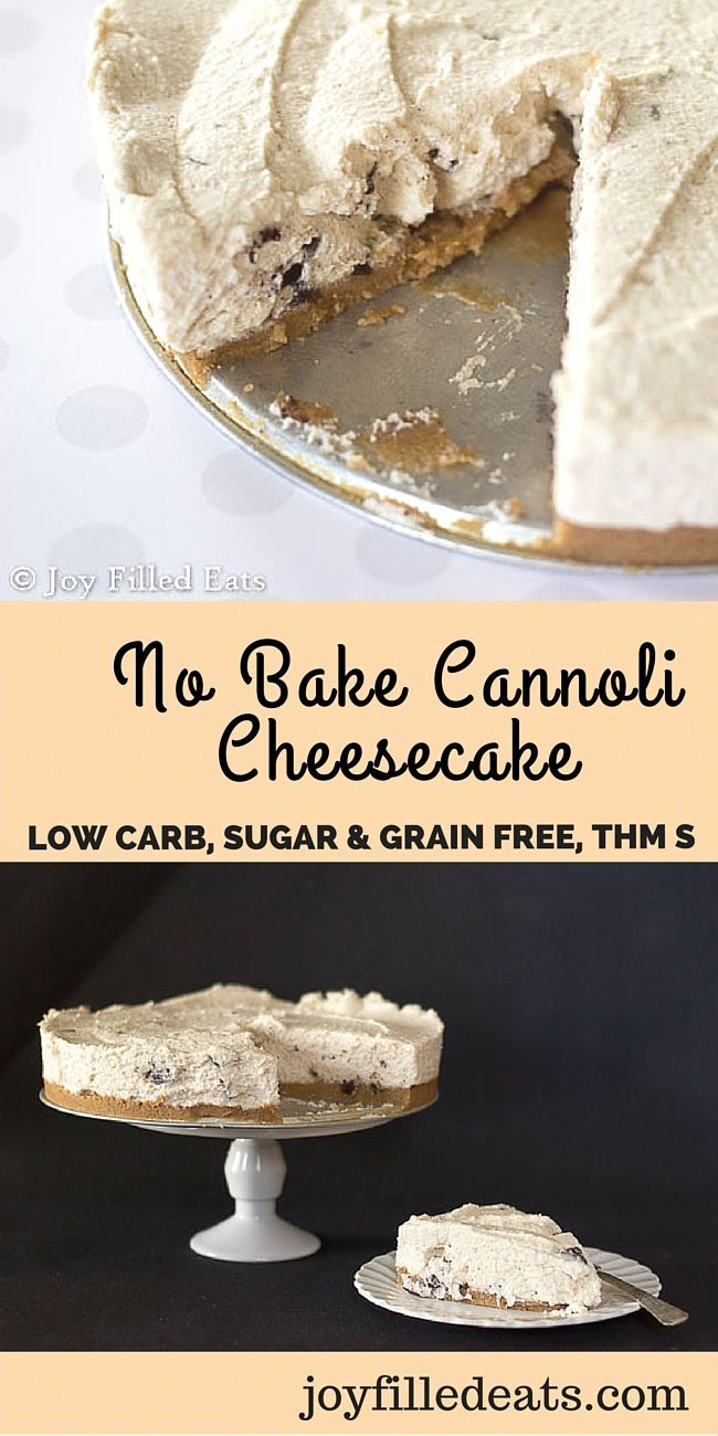 This No Bake Cannoli Cheesecake is creamy with all the flavors of a cannoli. It is the perfect summer dessert. THM S, Sugar/Grain/Gluten Free, Low Carb. via @joyfilledeats