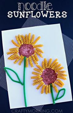 Make a Sunflower Craft Using Noodles - Fun spring or summer art project for kids!   CraftyMorning.com