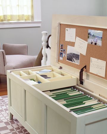 Use your kitchen or dining room table as a desk?  Keep all of your office essentials in one place, while concealing it in an attractive piece of furniture.