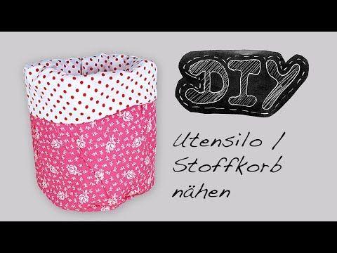 ▶ Rundes Utensilo Stoffkörbchen Nähanleitung + Schnittmuster selber nähen DIY kostenlos video Stoffkorb - YouTube