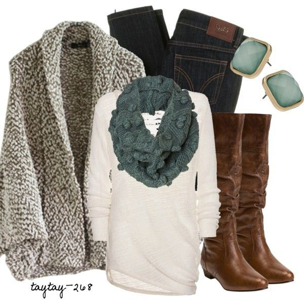Perfect fall/winter outfit. Dark wash skinny jeans, white shirt, cozy cardigan, boots & a fun scarf
