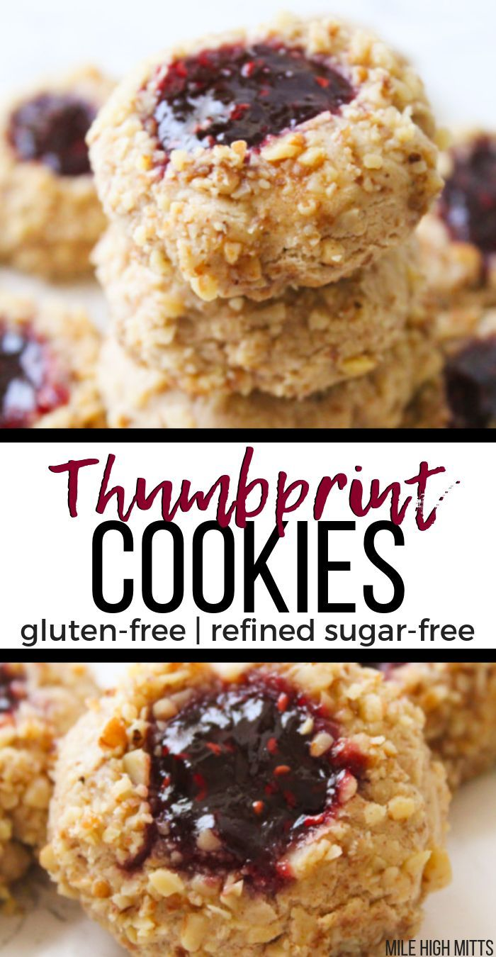 Classic Thumbprint Cookies are made healthy – refined sugar-free, and gluten-fre…