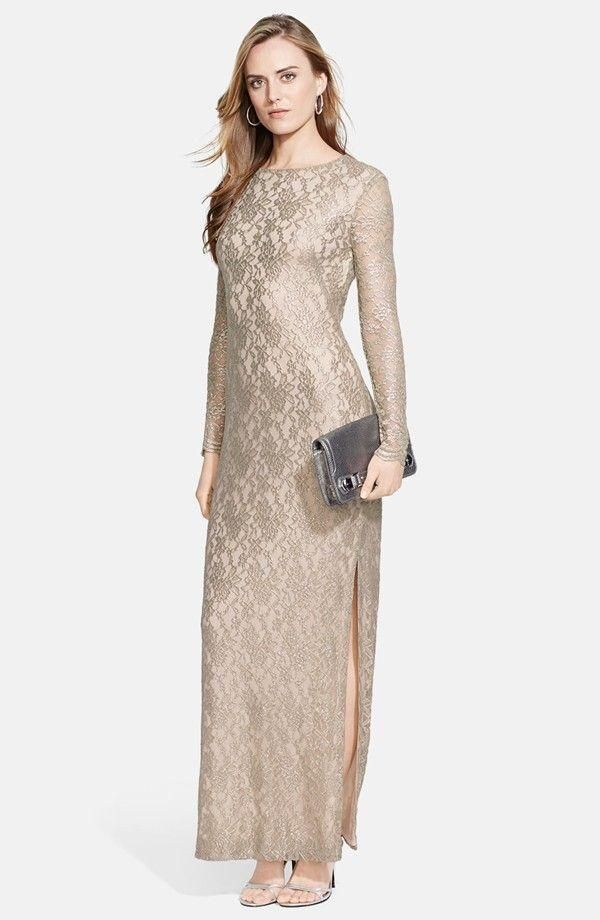 Metallic Lace Gown (Regular & Petite). In Stock, Price: $149.98.  #lace_dress_for_wedding_guest   #nordstrom_wedding_guest_dresses