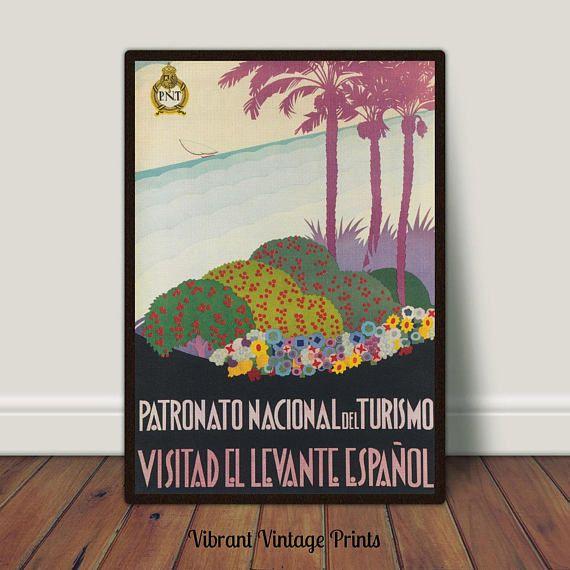 Levante Spain Palm Trees Vintage Travel Poster Printable