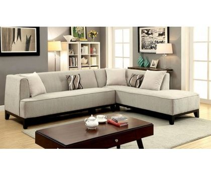 Unique FOA CM6861BG Sofia Transitional Style Beige Fabric Plush Cushion Seating Sectional Sofa With Chaise New - Simple Elegant Sectional Fabric sofas