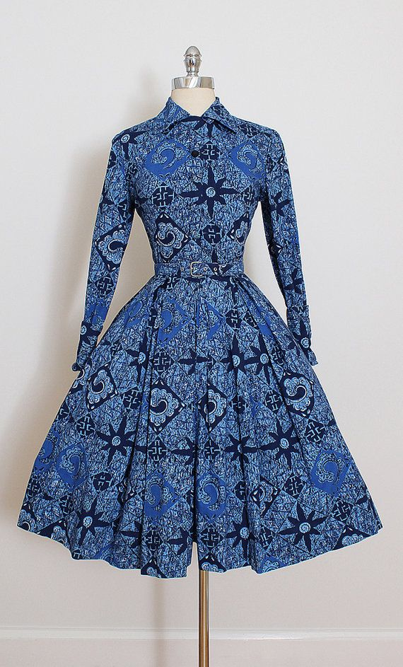 ➳ vintage 1950s dress  * blue cotton * abstract floral print * button front * detachable belt  condition | excellent fits like xs/s  length 40 bodice length 15.5 bust 36 waist 26 bodice allowance 2 hem allowance 2.5  some clothes may be clipped on dress form to show best fit for appropriate size.  ➳ shop http://www.etsy.com/shop/millstreetvintage?ref=si_shop  ➳ shop policies http://www.etsy.com/shop/millstreetvintage/policy  twitter | Mil...
