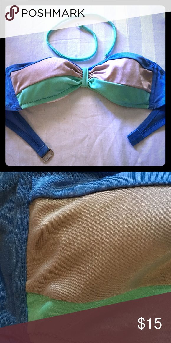 Victoria secret bandeau bikini top Blue, green, and beige bandeau top. Worn only a few times. Comes with optional halter chord. Victoria's Secret Swim Bikinis