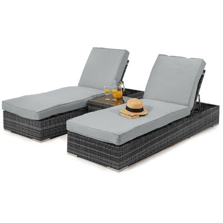 Maze Rattan   Orlando Sunlounger Set with Side Table in Grey   Rattan Garden  Furniture. 17 Best ideas about Grey Rattan Garden Furniture on Pinterest