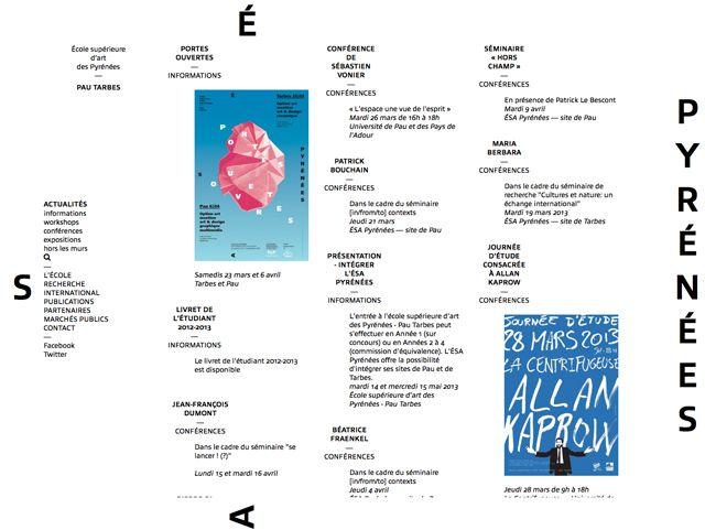 Benoit Ricaud, creative web designer. Responsive website development and front-end design for École supérieure d'Art des Pyrénées Pau — Tarbes. In collaboration with Laure Afchain, Thomas Petitjean.