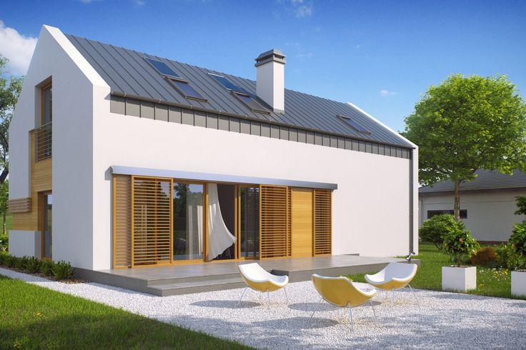 Dom z wysokim poddaszem, dużym pomieszczeniem gospodarczym oraz jednostanowiskowym garażem. Fot. Studio Z500