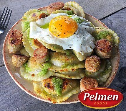 Sausage, Eggs and Garlic Pesto Perogies. Recipe: http://pelmen.com/recipe?id=143#.WRX8IeErKUk