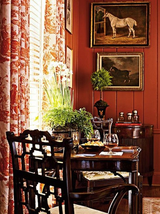 LOVE! Such a beautiful vignette...the walls and coordinating toile curtains, table and chairs, paintings