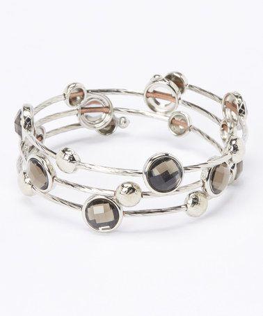 Loving this Smokey Topaz Faceted Wrap Bracelet on #zulily! #zulilyfinds