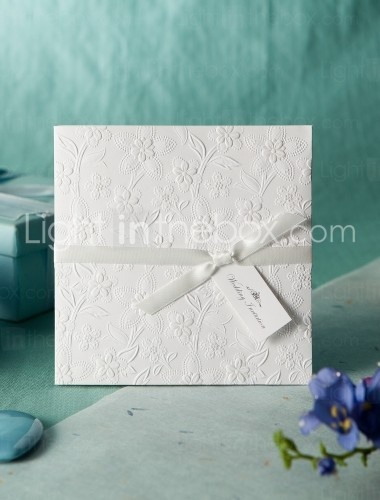White Embossed Spring Flowers Wedding Invitation