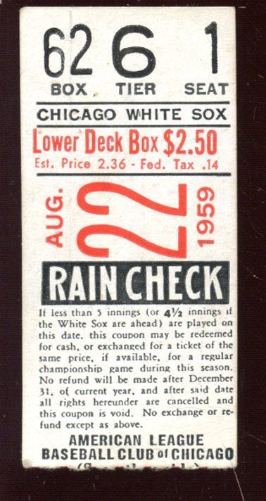 August 22 1959 Chicago White Sox Baseball Ticket Stub........American League Championship season.......Winner pays $6 shipping...Check out our e bay store!!!....... | eBay!
