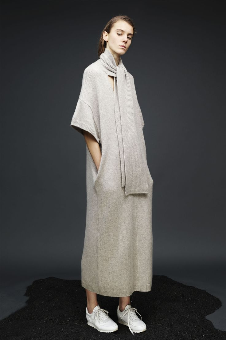 Knitted beige maxi dress with scarf | Joseph 2015