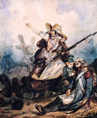 Une gouache de P. Manguin « Une Barricade en 1830 » qui dépeint la participation de la femme dans la révolution de 1830