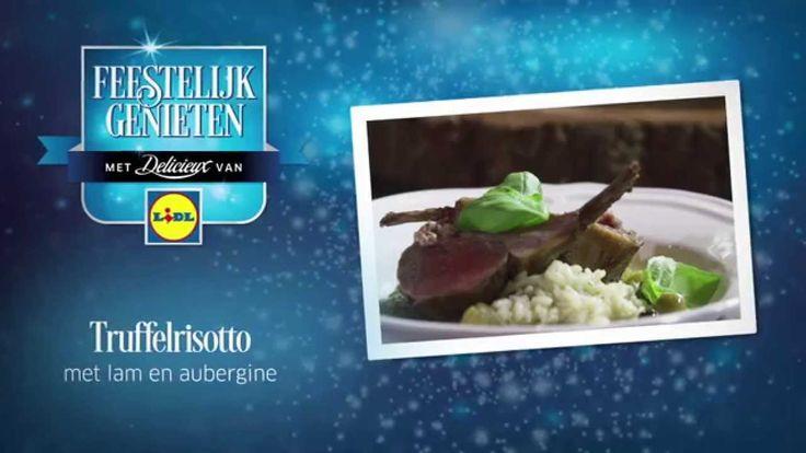 #Receptvideo van Ramon Beuk voor Truffelrisotto met lam en aubergine #Lidl #Recept #Video #Kerst #Risotto